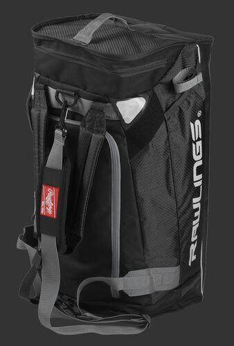 A black R601 Rawlings hybrid duffel bag stood up like a backpack