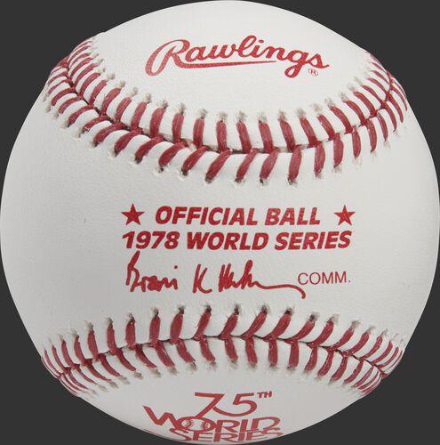 A 1978 Rawlings MLB commemorative World Series baseball with the 1978 World Series logo and red stitching - SKU: RSGEA-WSBB78-R