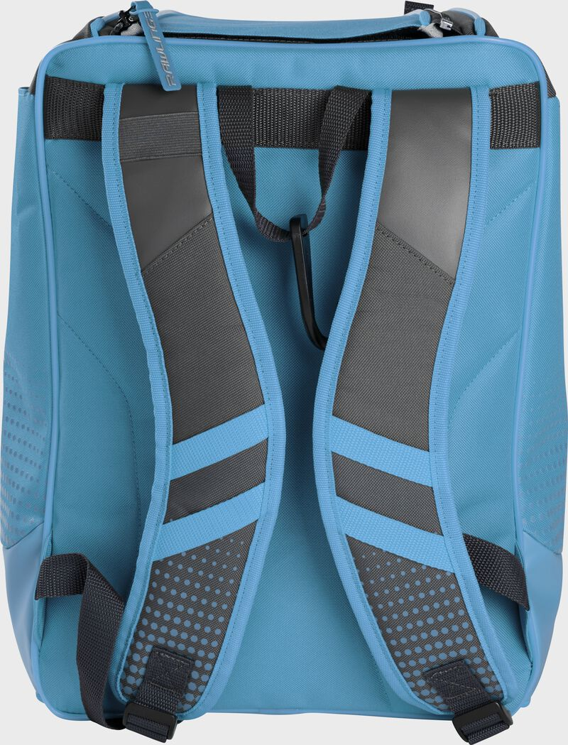 Back of a Columbia blue Rawlings Franchise backpack with gray shoulder straps - SKU: FRANBP-CB
