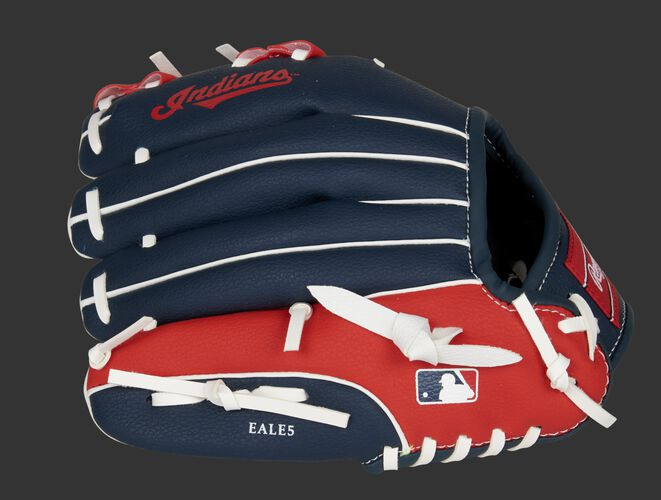 Back of a navy/red Cleveland Indians youth glove with the MLB logo on the pinky - SKU: 22000014111