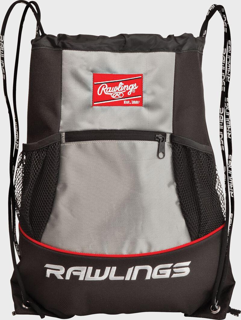 A black/silver SKPK Rawlings players drawstring backpack