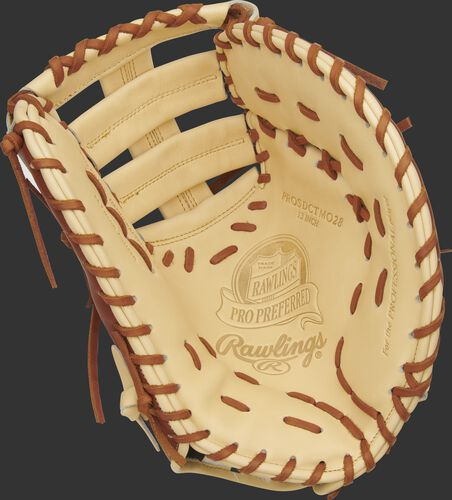Camel palm of a Rawlings Pro Preferred Matt Olson first base mitt with a camel web and tan laces - SKU: PROSDCTMO28