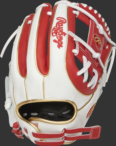RLA715SB-2S 11.75-inch Liberty Advanced I-web glove with a white back, gold binding/welting and adjustable pull strap