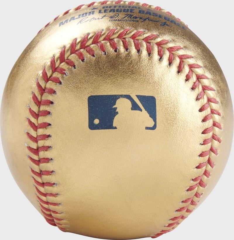 MLB logo stamped on a Gold MLB baseball - SKU: RSGEA-GOLD-R