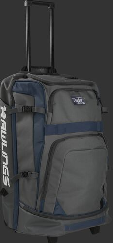 A grey and navy R1801 catcher's wheeled backpack with the pull handle extended