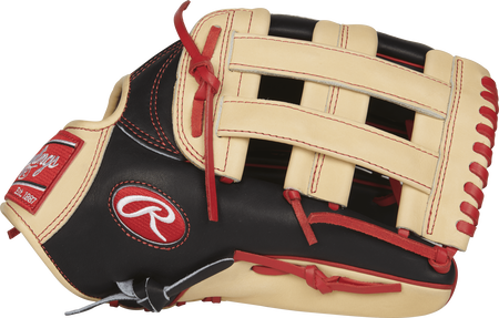 Thumb view of a PROBH34 Heart of the Hide Bryce Harper 13-inch Game Day glove with a camel H web