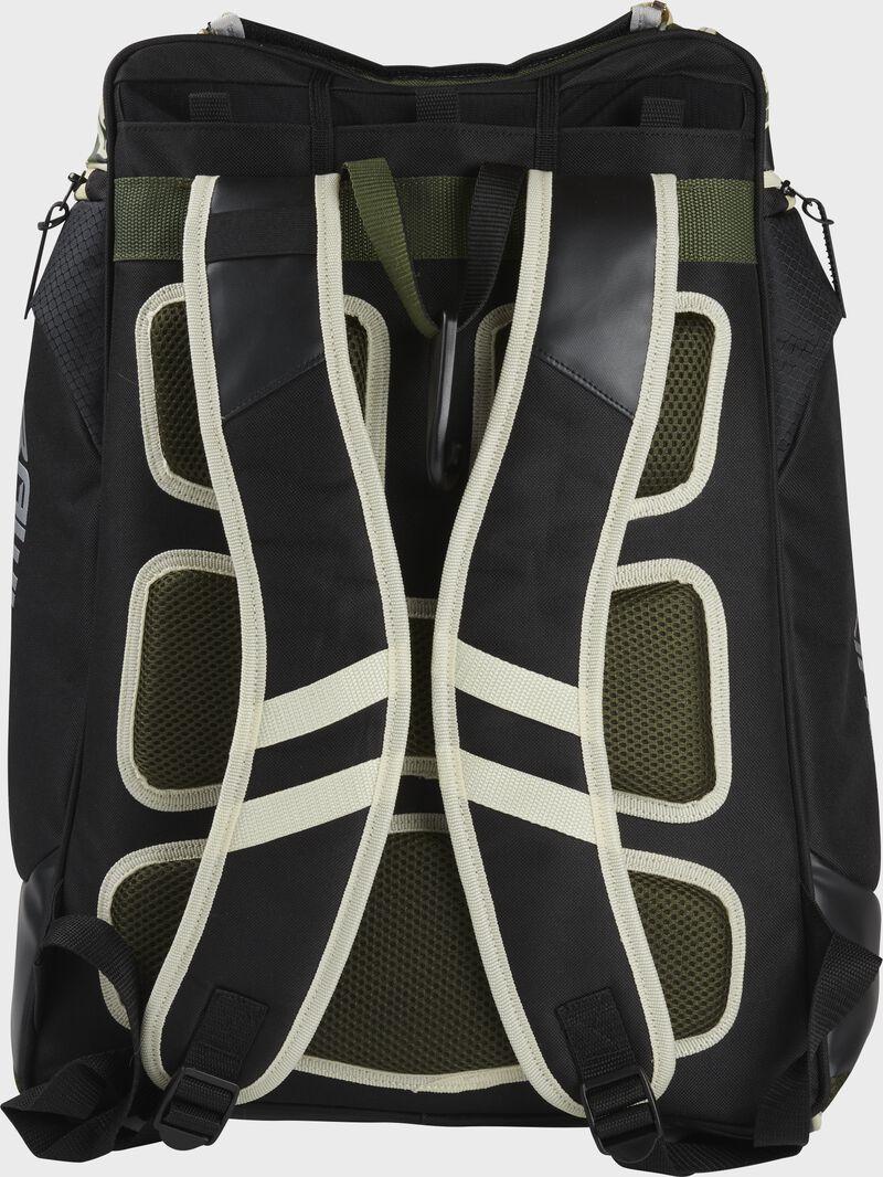 Back of a camo Rawlings Legion backpack with black shoulder straps - SKU: LEGION-CAMO