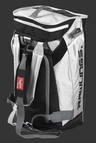 A white R601 Rawlings hybrid duffel bag stood up like a backpack
