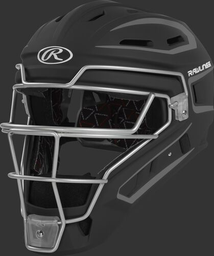 CHV27J black Velo 2.0 youth catcher's helmet with white trim