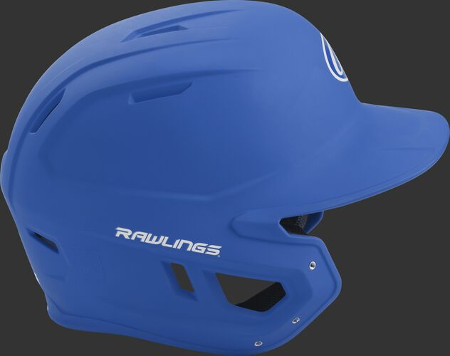 Right side of a matte royal MACH helmet