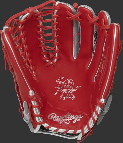 Scarlet palm of a Rawlings HOH R2G outfield glove with scarlet laces and silver palm stamp - SKU: PROR3039-22SGZ