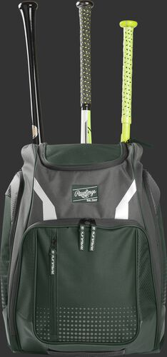 Front view of a dark green Rawlings Legion baseball backpack with 3 bats in the back - SKU: LEGION-DG