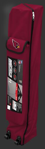Red wheeled carry case of an Arizona Cardinals canopy with the team logo on the outside compartment - SKU: 02231081111
