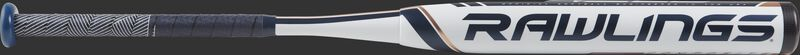 FP9V10 Rawlings Velo fastpitch bat with a white barrel and navy/white grip