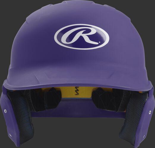 Front of a matte purple MACH junior size batting helmet