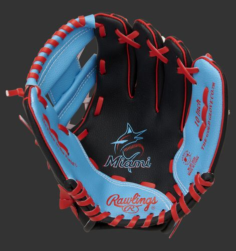 A black/light blue Rawlings Miami Marlins youth glove with a Marlins logo in the palm - SKU: 22000016111