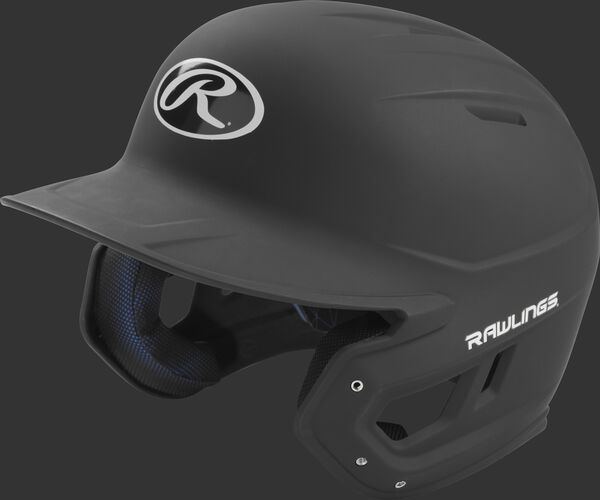 Left angle view of a Rawlings MACH Senior helmet with a one-tone matte black shell