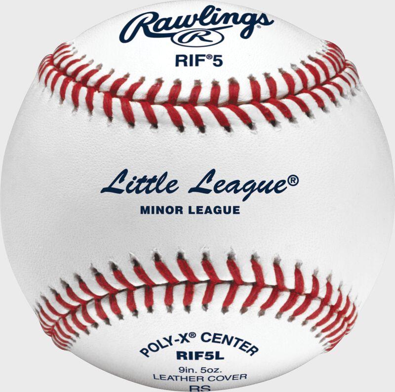 A RIF Little League training baseball with a Little League stamp - SKU: RIF5L