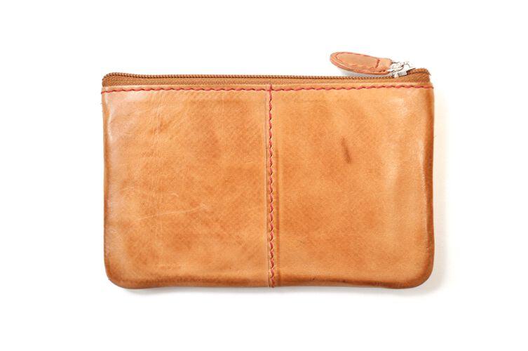 Back of a tan Rawlings baseball stitch coin purse - SKU: MW415-204