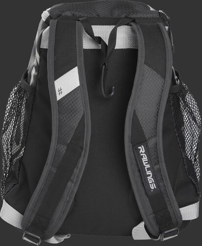 Back of a black R400 Rawlings youth backpack with black shoulder straps