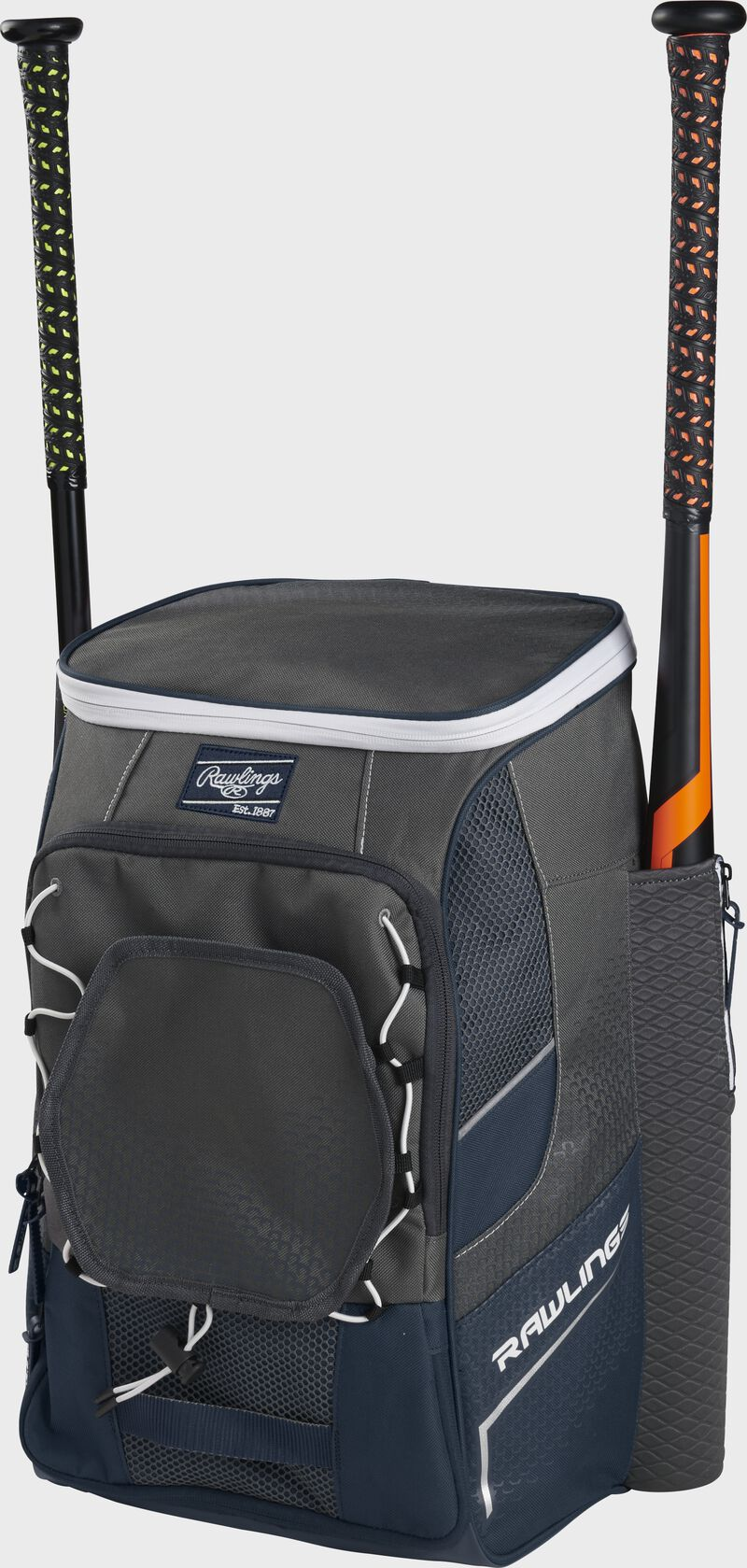 Front right angle view of a navy Impulse backpack with two bats in the side sleeves - SKU: IMPLSE-N