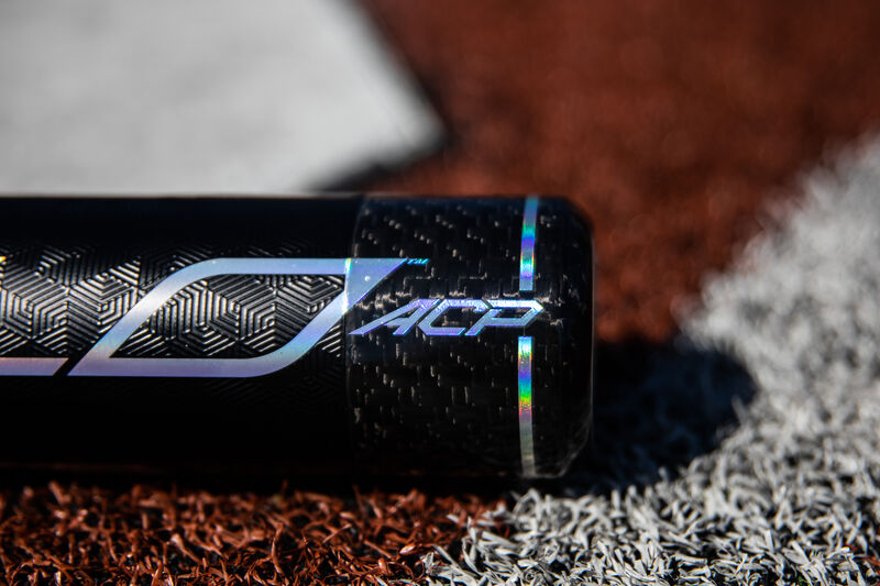 Carbon fiber end cap of a 2020 Rawlings Velo ACP baseball bat - SKU: BBZV3