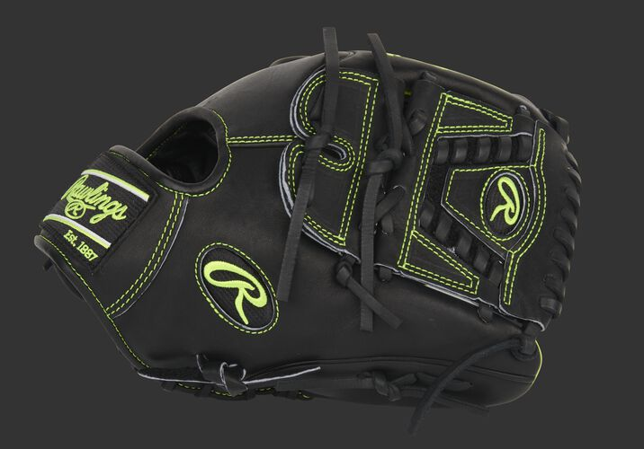 Thumb of a black Exclusive Heart of the Hide Wing Tip infield/pitcher's glove with a laced 2-piece solid web - SKU: PRO205W-30BOY
