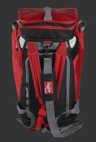 Front of a scarlet R601 Rawlings Hybrid backpack/duffel bag with a gray strap and scarlet arm straps