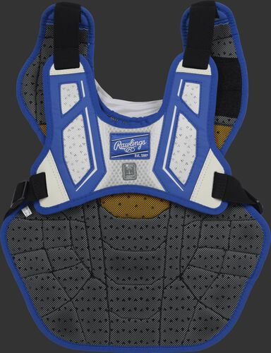 Back harness of a royal/white CPV2N intermediate Velo 2.0 chest protector with Dynamic Fit System 2.0