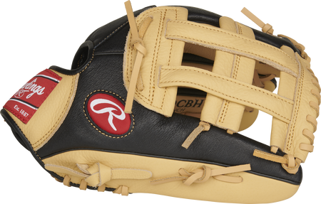Thumb of a black P120CBH 12-Inch Prodigy youth outfield glove with camel trim and a camel H-web