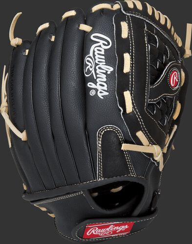 Back view of a black RSS125C 12.5-inch RSB recreational softball glove with a black back and Velcro wrist strap