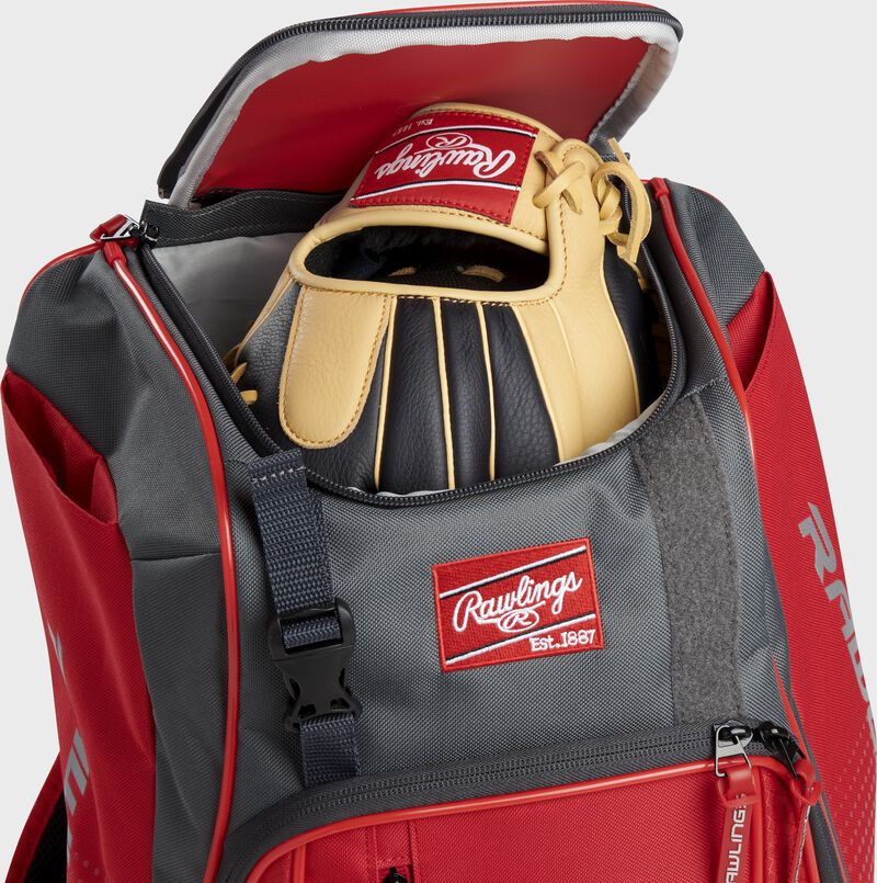 A Rawlings baseball glove in the top compartment of a Franchise baseball backpack - SKU: FRANBP-S