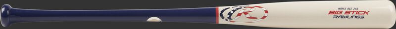 R243MA Big Stick Maple Ace wood bat with a white barrel and blue handle