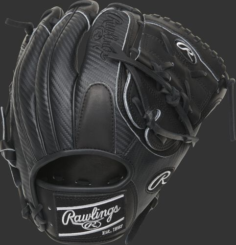Back of a black 11.75-Inch HOH Hyper Shell 2-piece solid web glove with a black Rawlings patch - SKU: PRO205-9BCF