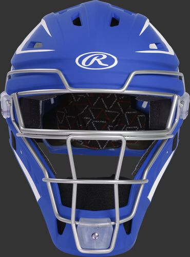 Front of a royal CHV27J Velo 2.0 hockey-style catcher's helmet