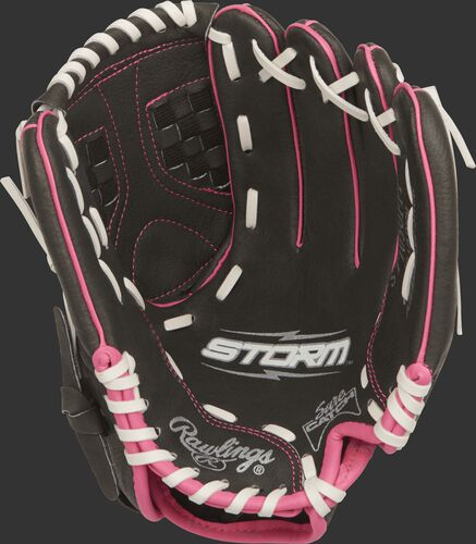 ST1050FPP Rawlings 10.5-inch infield softball glove with a black palm, white laces and Sure Catch design