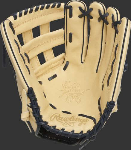 Palm of a camel Rawlings Gameday 57 Christian Yelich glove with navy laces - SKU: RSGPRO3039-CY22