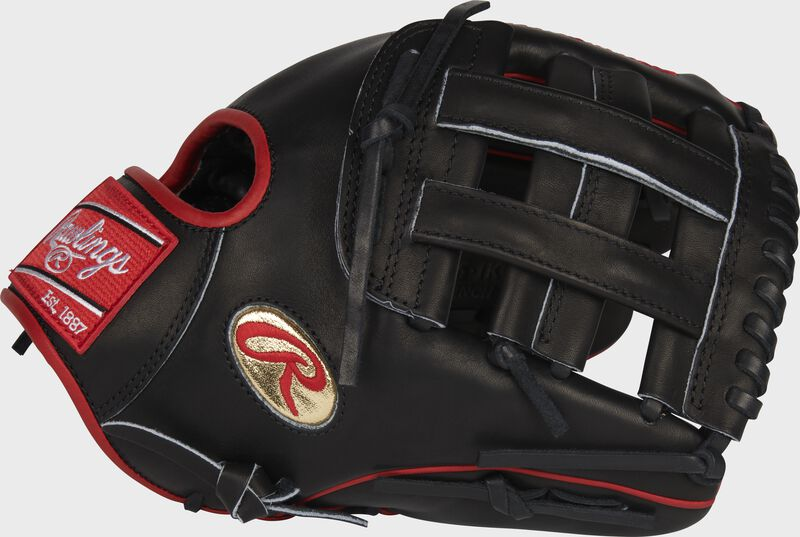 Thumb of a black Gameday 57 Series Isiah Kiner-Falefa Heart of the Hide glove with a gold oval-R logo - SKU: RSGPRO205-IKF9