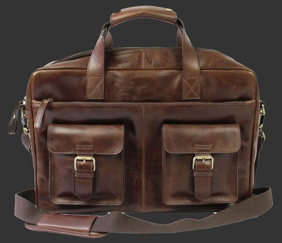 A brown Rawlings rugged briefcase with 2 side compartments and a brown shoulder strap - SKU: RS10024-200