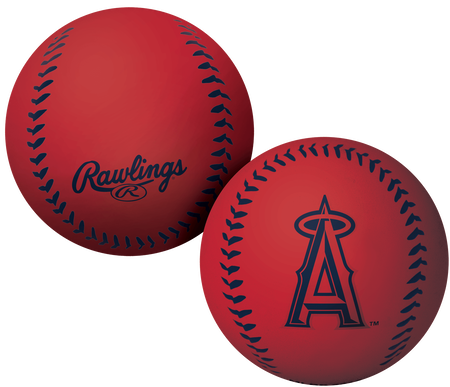 A red Los Angeles Angels Big Fly rubber bounce ball