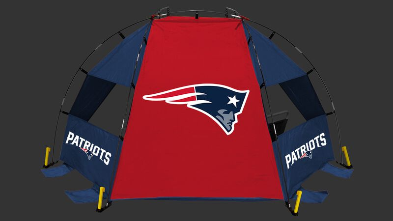 Back of a New England Patriots sideline sun shelter with the Patriots logo in the middle - SKU: 00961076111