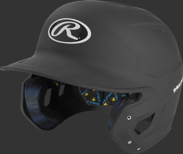 Left angle of a black MCH07A Mach high school/college batting helmet