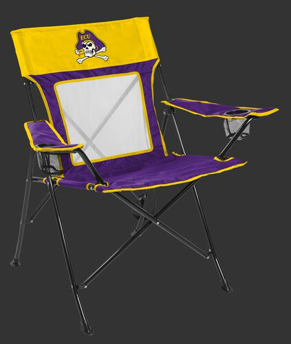 Front of Rawlings Yellow and Purple NCAA East Carolina Pirates Game Changer Chair With Team Logo SKU #00643017111