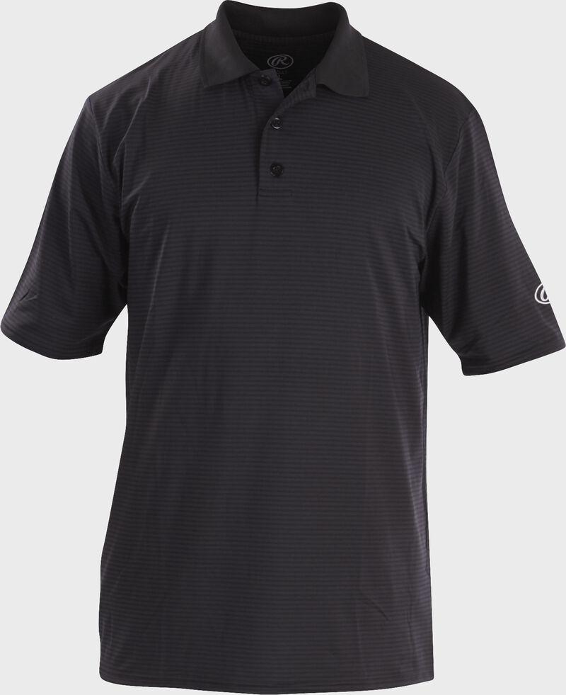 Front of Rawlings Adult Black Short Sleeve Polo Shirt - SKU #GGPOLO
