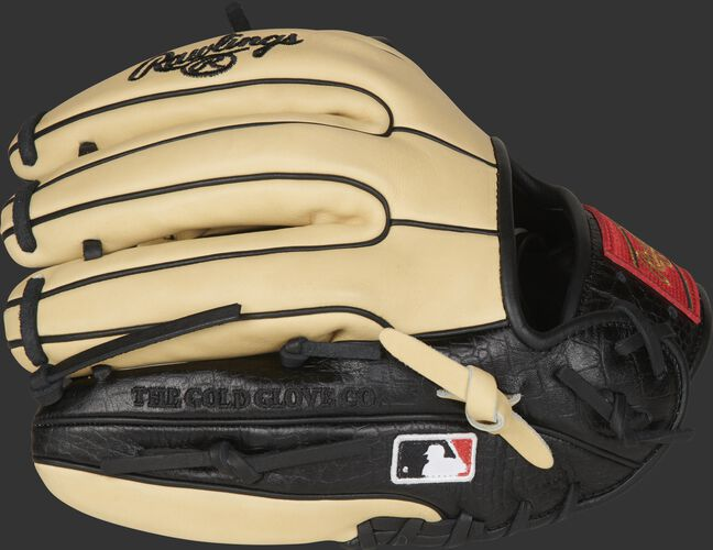 A camel HOH exclusive glove with a black, croc-embossed leather pinky/ring finger trim - SKU: PRO314-7BCC