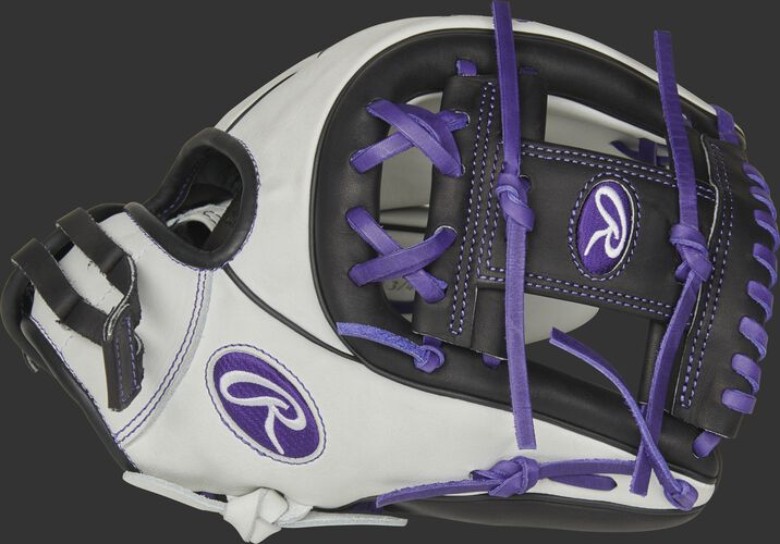 Thumb of a white RLA715SB-2PU Liberty Advanced Color Series 11.75-inch infield glove with a purple I-web