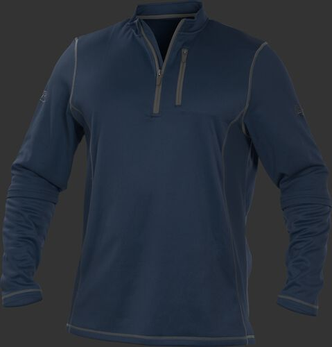 TECH2 Navy Rawlings quarter-zip fleece pullover with graphite chest pocket zipper