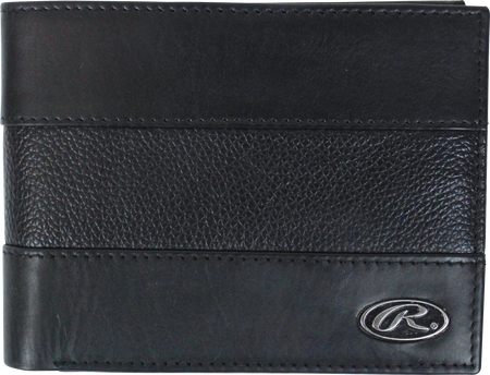 A black RW80004-001 Bases Loaded bi-fold wallet folded close with a silver Oval R logo in the bottom right