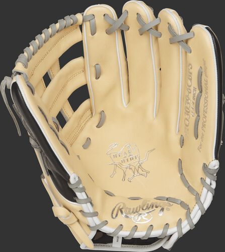 Palm view of a camel PRO3039-6BCFS Rawlings 12.75-inch finger shift outfield glove with grey laces