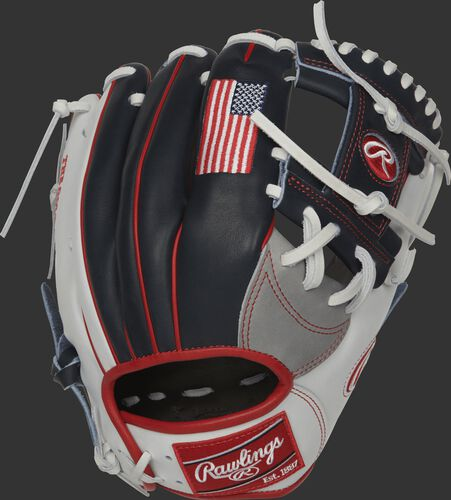 PRONP4-USA 11.5-inch Heart of the Hide infield glove with a navy back and USA flag embroidered on the index finger